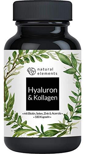 Hyaluronsäure Kollagen Komplex - 180 Kapseln - Angereichert mit Biotin, Selen, Zink, Vitamin C aus Acerola & Bambusextrakt - Laborgeprüft
