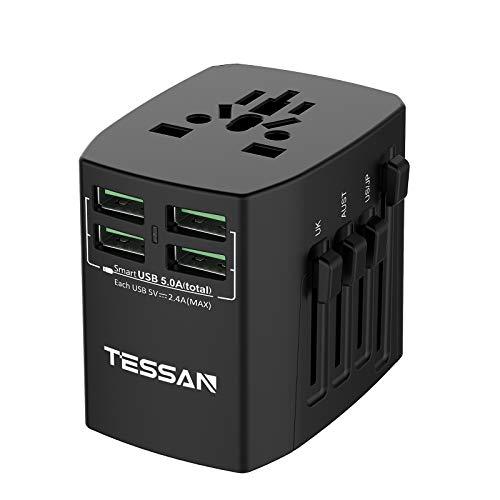 TESSAN Universal Reiseadapter Reisestecker Weltweit mit 4 USB Internationaler Steckdosenadapter 25W/5A Stromadapter für 224 Ländern, Travel Adapter für UK/Italien/USA/England/Japan/China  - Werbung*