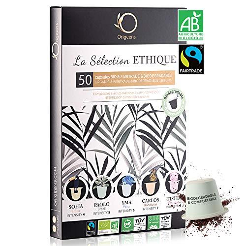 Nespresso Kapseln Kompatibel | BIO FAIRTRADE Arabica Kaffee in Kapseln Biologisch abbaubar | Premium Probierset mit 50 Kaffeekapseln | Traditionelle Röst