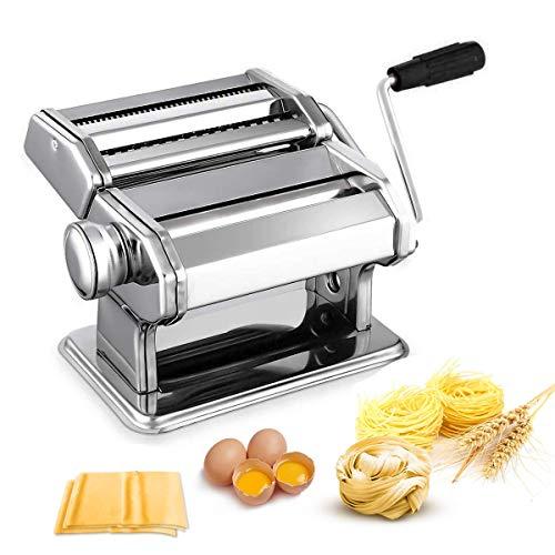 Nudelmaschine Pasta Maker Edelstahl Frische Manuell Pasta Walze Maschine Cutter mit Klemme für Spaghetti Nudeln Lasagne Bestes Pastamaschine Nudel Maschine Geschenk, Einfache Reinigung und Verwend