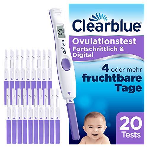 Clearblue Kinderwunsch Ovulationstest-Kit Fortschrittlich & Digital. Nachweislich doppelte Chancen, schwanger zu werden, 1 digitale Testhalterung und 20 Tests