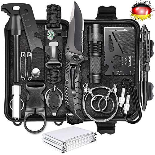 LC-dolida Survival Kit 15 in 1, Außen Notfall Survival Kit mit Messer/ Taktische Taschenlampe für Camping/ Bushcraft/ Wandern/ Jagden/ Outdoor Abent