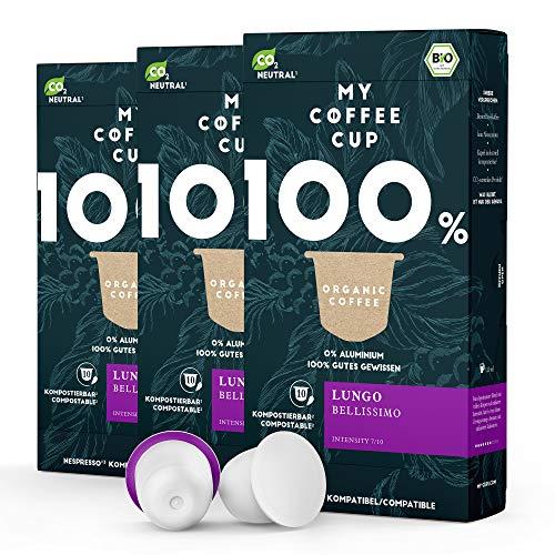 My Coffee Cup – LUNGO BELLISSIMO – BIO-KAFFEE 3 PACKUNGEN I 30 Kaffeekapseln für Nespresso®³-Kapselmaschinen I 100% industriell kompostierbare Kaffeekapseln – 0% Alu I Nachhaltige Kaffeekapsel