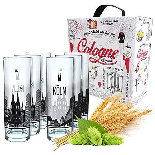 3forCologne Kölschglas   6er Pack je 0,2ml   Kölsches Grundgesetz & Kölner Dom  Biergläser, Kölner-Stangen, Trinkgläs