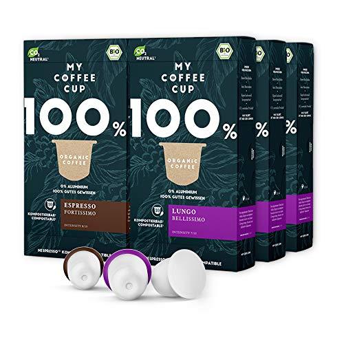 My Coffee Cup – KAFFEE-DUO-BOX: 60 KAPSELN BIO-KAFFEE I Kaffeekapseln für Nespresso®³-Kapselmaschinen I 100% industriell kompostierbare Kaffeekapseln – 0% Alu I Nachhaltige Kaffeekapsel