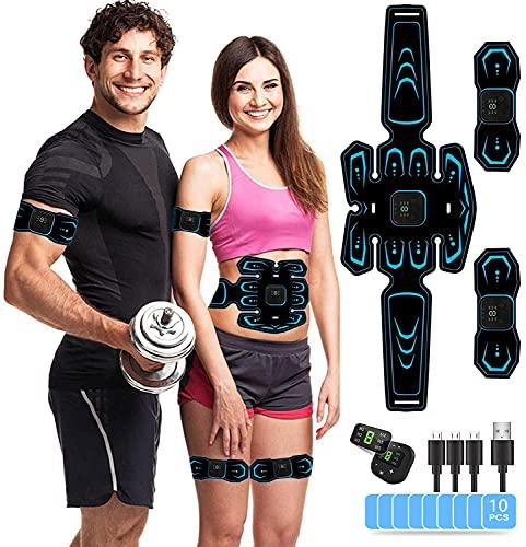 AILEDA EMS Trainingsgerät, Bauchmuskeltrainer, USB Wiederaufladbar Muskelstimulator bauchtrainermit 6 Modi & 9 Intensitäten, LTragbarer Muskelstimulator,für Bauch,Arm,Bein-Fitness Trainings Ga