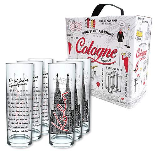 3forCologne Kölschglas   6er Pack je 0,2ml   Et Kölsches Grundgesetzt   Biergläser, Kölner-Stangen, Trinkgläs