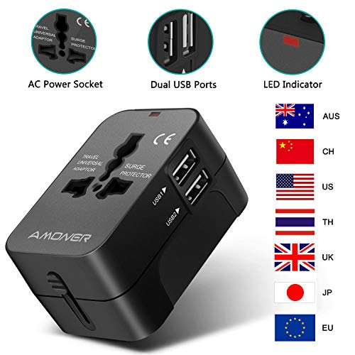 Amoner Reiseadapter Steckdosenadapter Universal Adapter Travel Plug Stromadapter Weltweit Reisestecker für die USA Europa UK AU Thailand China usw.