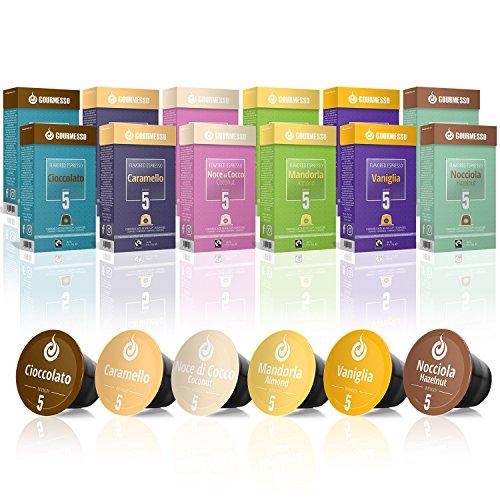 Gourmesso Flavour Box – 120 Nespresso kompatible Kaffeekapseln – 100% Fairtrade – 6 ausgefallene Geschmacksricht