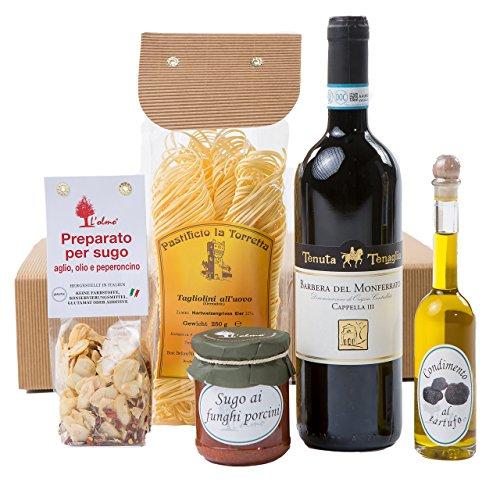 """Präsentkorb """"Genussreise Piemont"""" mit italienischen Spezialitäten: Piemonteser Feinkost und Barbera   Geschenkset mit Antipasti , Pasta Gewürz"""