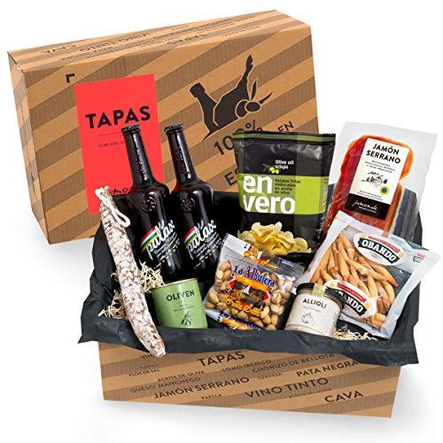 Präsentkorb Spanische Delikatessen - TAPAS I gefüllter Geschenkkorb mit Bier & Spezialitäten aus Spanien I köstliches Geschenk für Männer & Fra