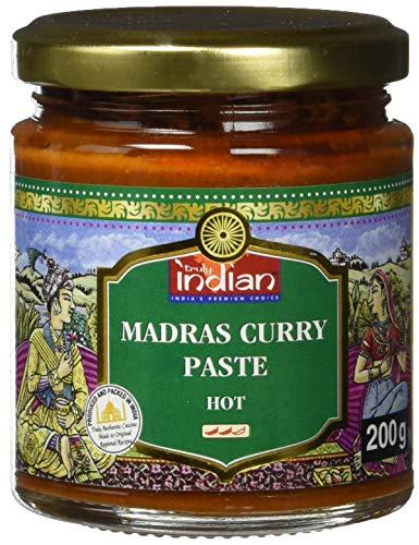 TRULY INDIAN Currypaste Madras Hot – Scharfe Würzpaste für individuelle, schnelle Gerichte – Authentisch indisch kochen – 6 x 200