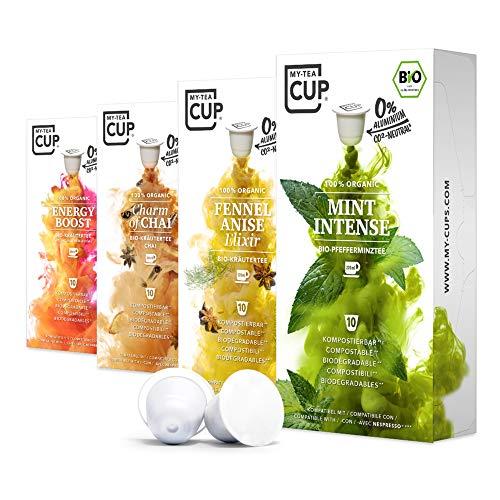 My Tea Cup – VITAL BOX: 4 x 10 KAPSELN BIO-TEE I 4 SORTEN (PFEFFERMINZ & KRÄUTER) I 40 Kapseln für Nespresso®³-Kapselmaschinen I 100% industriell kompostierbare & nachhaltige Teekapseln – 0% Al