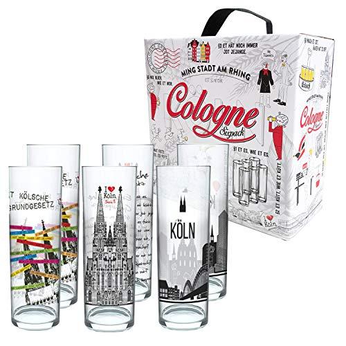3forCologne Kölschglas-Mix   6er Pack je 0,2ml   Et Kölsches Grundgesetzt & Kölner Dom   Biergläser, Kölner-Stangen, Trinkgläs
