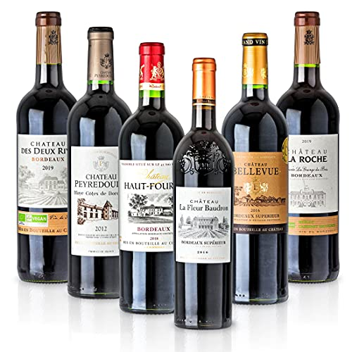 Feinste Weine - Weinselektion 6er Bordeaux Probierpaket (6 * 0,75l) - Frankreich-Probierset mit trockenen Rotwei