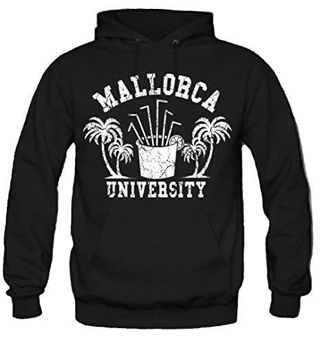 uglyshirt89 Mallorca University Kapuzenpullover | Männer | Herren | Party | Urlaub | Sauf | Palma de Mallorca | Ballermann | Saufen | Kult | Schwarz (M)