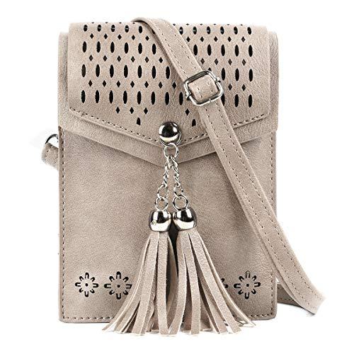 SeOSTO Frauen Mini Umhängetasche, Quaste Umhängetasche Handy Geldbörse Wallet [Vintage Beige]