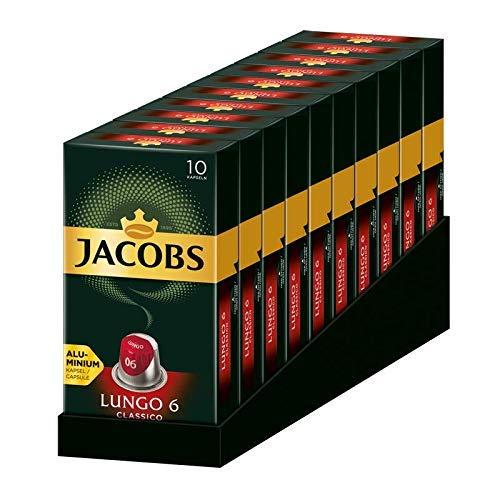 Jacobs Kapseln Lungo Classico, Intensität 6, 100 Nespresso®* kompatible Kaffeekapseln, 10er Pack, 10 x 10 Getränk