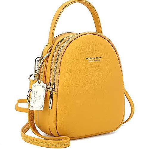WANYIG Frauen Mini Rucksack Kleine Handy Schultertasche Damen PU Leder Daypack Tasche Umhängetasche Schulrucksäcke Handtasche Mini Casual Daypacks(Gelb)