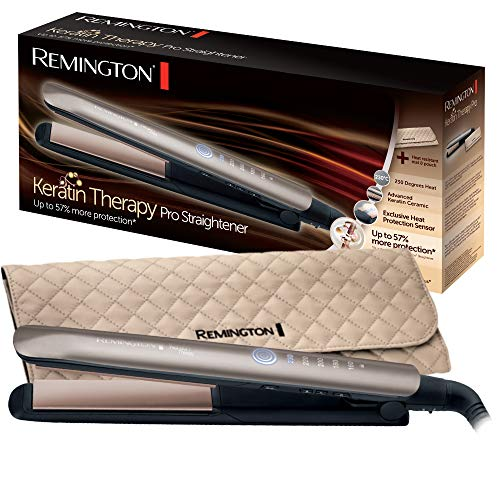 Remington Glätteisen Keratin Therapy (Hitzeschutzsensor um Haarschäden zu verringern, hochwertige Keratin-Keramikbeschichtung mit Mandelöl angereichert) Digitales Display, 160-230°C, Haarglätter S8590