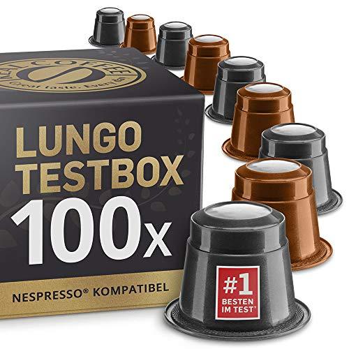 Lungo Testbox: 100 Fairtrade Nespresso kompatible Kapseln. Testsieger.