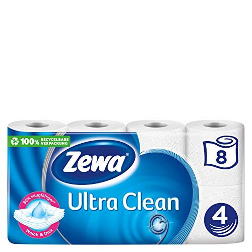 Zewa Ultra Clean Toilettenpapier, 8 Rollen mit je 135 Blatt, 4-lagiges Klopapi