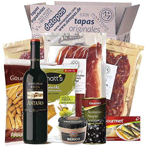 Präsentbox - Tapas-Abend für Zwei I Tapas para dos I Geschenk für Feinschmecker und Spanienfans | Spezialitäten aus Spanien | Geschenk für Männer & Fra