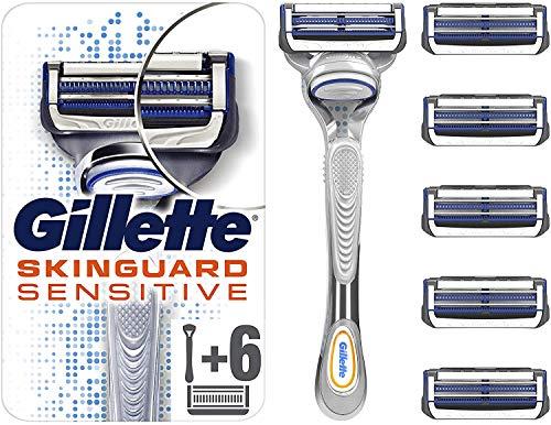 Gillette SkinGuard Sensitive Rasierer + 6 Rasierklingen, briefkastenfähige Verpackung, für empfindliche Haut und Hautirritationen, vermeidet Hautreizungen