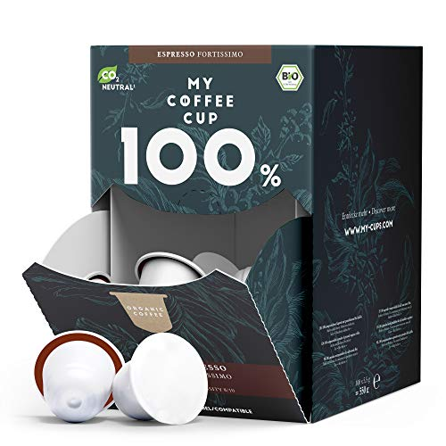 My Coffee Cup – MEGA BOX ESPRESSO FORTISSIMO – BIO-KAFFEE I 100 Kaffeekapseln für Nespresso®³-Kapselmaschinen I 100% industriell kompostierbare Kaffeekapseln – 0% Alu I Nachhaltige Kaffeekapsel