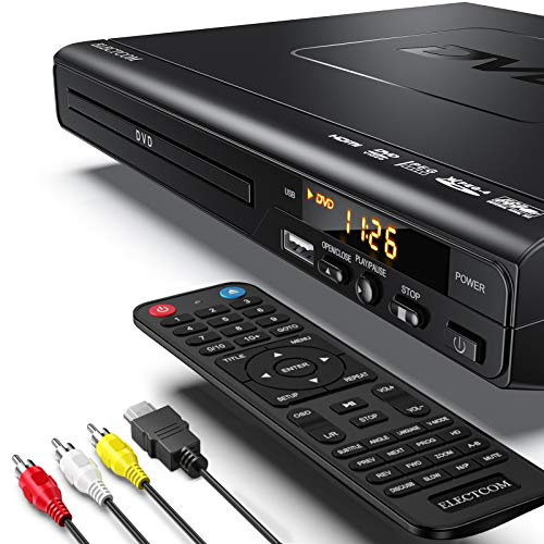 DVD Player, ELECTCOM HD DVD Player, CD Player (1080p Upscaling, HDMI Kabel-0.91m, USB-Eingang, Xvid/MP4 Playback, Dolby Digital, Alle Regionen frei)