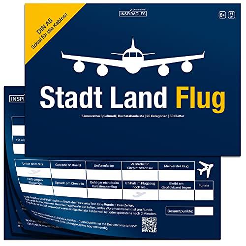 Stadt Land Flug Reisespiel - Handliches DIN A5 Format - Stadt Land Fluss Variante für Flugbegleiter, Piloten, Weltenbummler, Vielflieger - Lustiges, Cooles Gadget und Geschenk für Reisend