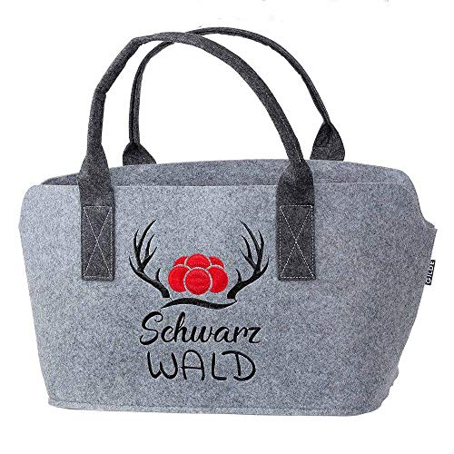GILDE Filztasche mit Schwarz Wald Logo als Einkaufstasche/Holztasche/Strandtasche – reißfest & trägt viel Gewicht – polstert Ihre Einkäufe sicher ab und besitzt viel Stauraum (Schwarzwald Hellgrau)