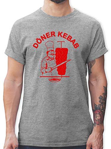 Sprüche Statement mit Spruch - Original Döner Kebab Logo - L - Grau meliert - döner kebap Tshirt männer - L190 - Tshirt Herren und Männer T-Shirts