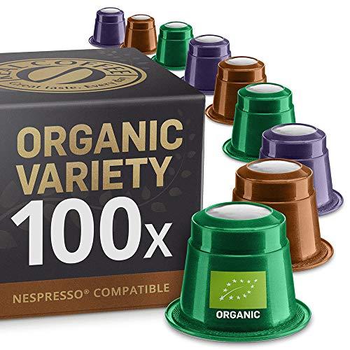 Bio und Fairtrade Testbox mit 4 Sorten: 100 Nespresso kompatible Kapseln. Kaffeekapseln Testsieger. 100% Bio und Fairtrade Kaffeekapsel