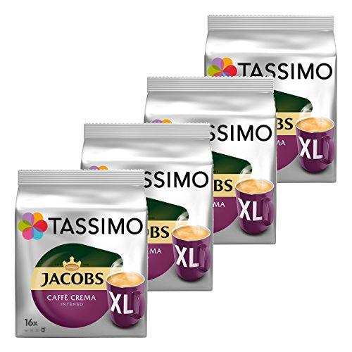 Tassimo Jacobs Caffè Crema Intenso XL, Kaffee Kapsel, Kaffeekapsel, gemahlener Röstkaffee, 64 T-Discs