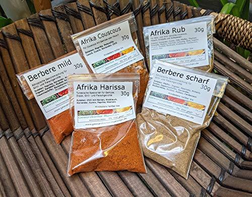 Afrika Gewürze Schnupperset-2, Harissa, Couscous Gewürzmischung, Afrika Rub, Berbere mild, Berbere scharf