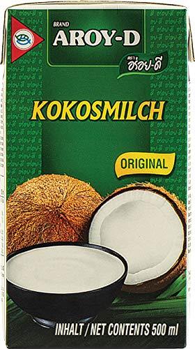 AROY-D Kokosmilch (Fettgehalt ca. 19% - Ideal zum Kochen, Backen, für Desserts und Cocktails), 8-er pack (8 x 500ml)