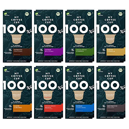 My Coffee Cup – GOURMET-KAFFEE-BOX: 160 KAPSELN BIO-KAFFEE I Kaffeekapseln für Nespresso®³-Kapselmaschinen I 100% industriell kompostierbare Kaffeekapseln – 0% Alu I Nachhaltige Kaffeekapsel